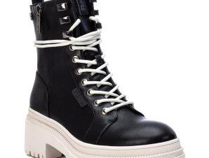 Μαύρο/Λευκό biker boot Refresh 77891