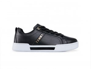 Tommy hilfiger – BRANDED OUTSOLE STRAPPY SNEAKER – BLACK