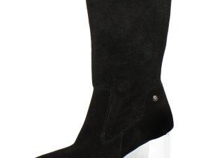 Trussardi γυναικεία μποτάκια suede με μεταλλιζέ τακούνι. – 79A00393-9Y099999 – Μαυρο