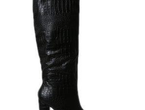 Μπότα δερματίνη croco μυτερή με φερμουάρ και χοντρό τακούνι (Μαύρο)