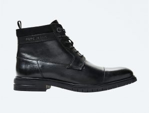"Pepe Jeans ανδρικά μποτάκια με suede λεπτομέρεια ""Thomas Flex"" – PMS50200 – Μαυρο"