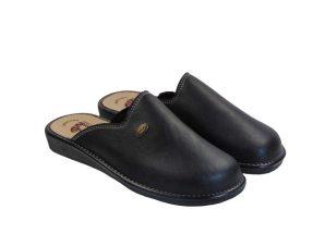 Tsimpolis Shoes 904 Ανδρική Παντόφλα Σπιτιού Από Τεχνόδερμα Μαύρη