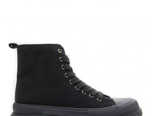 Suede sneakers μποτάκια με κορδόνια