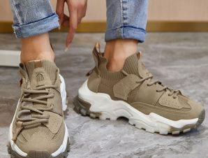Χακί sneakers κάλτσα με κορδόνια