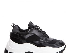 Chunky sneakers σε συνδιασμό υλικών, μαύρο