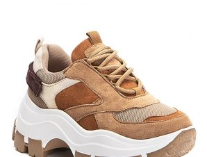 Chunky sneakers σε συνδιασμό υλικών, camel
