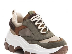 Chunky sneakers σε συνδιασμό υλικών