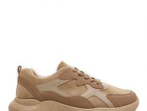 Sneakers με συνδιασμό υλικών, χακί