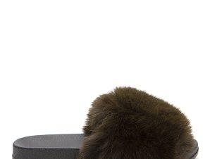 Παντόφλες με γούνινη φάσα, λαδί