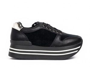 Γυναικεία μαύρα sneakers με πλατφόρμα και συνδυασμό υλικών