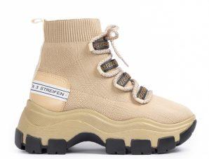 Γυναικεία μπεζ sneakers μποτάκια κάλτσα