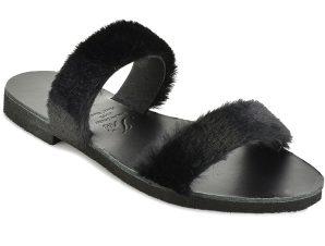 Δερμάτινη μαύρη σαγιονάρα με γούνα Iris Sandals IR12