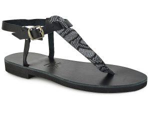 Δερμάτινο μαύρο σανδάλι με glitter Iris Sandals IR7/19