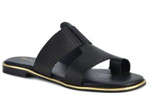 Δερμάτινo μαύρo σανδάλι KP220