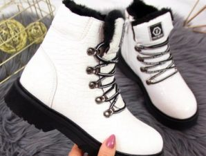 Patent leather boots Jr EVE320B white