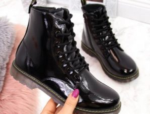 Warm lacquered boots Miss?E Jr EVE251A black